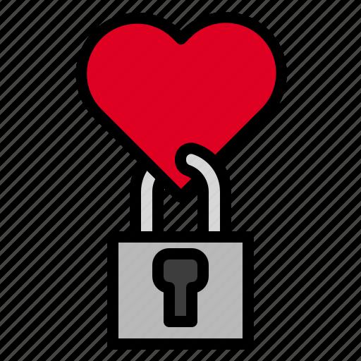 heart, key, lock icon