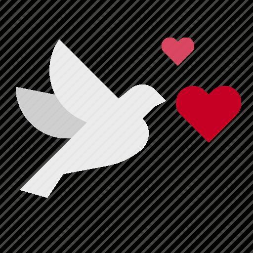 bird, fly, love icon