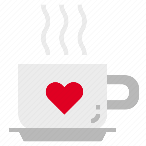 coffee, heart, hot, valentine icon