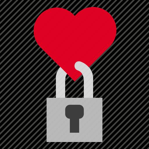 heart, lock, love, valentine icon