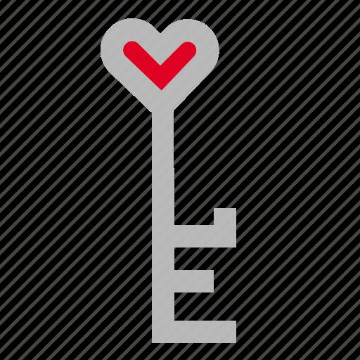 heart, key, love icon