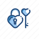 key, lock, love, romance icon