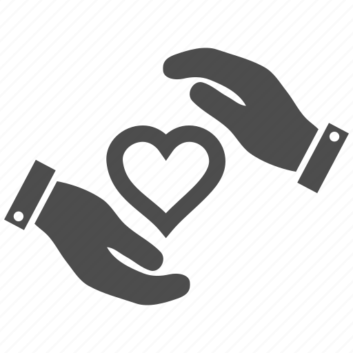 care hands, comfort, coverage, heart protection, love, protect, support icon