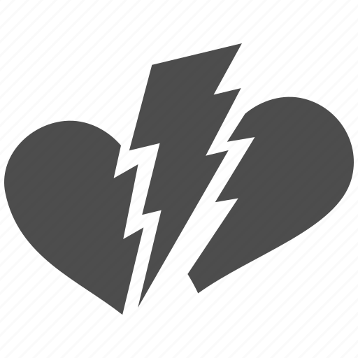 break, broken heart, dislike, divorce, drama, hate, unlove icon
