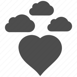 cloud, clouds, cloudy, favorite, forecast, love heart, troubles icon