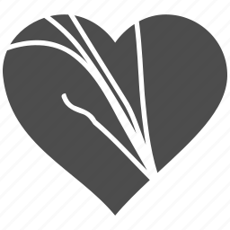 break, couple conflict, damaged, divorce, love heart, separation, stress icon