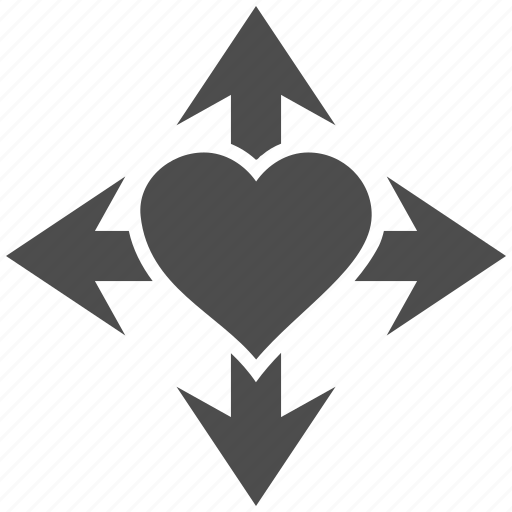 directions, enlarge, expand, inlove, love heart, romantic, valentines icon