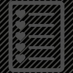 checklist, favourite, favourites, form, menu items, page, task list icon