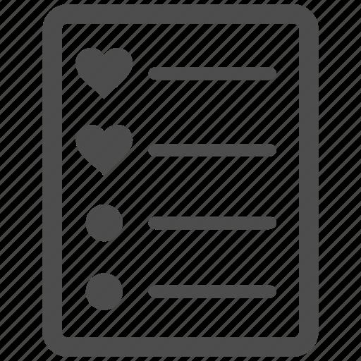 checklist, favourites, love, menu items, page, task list, valentine icon