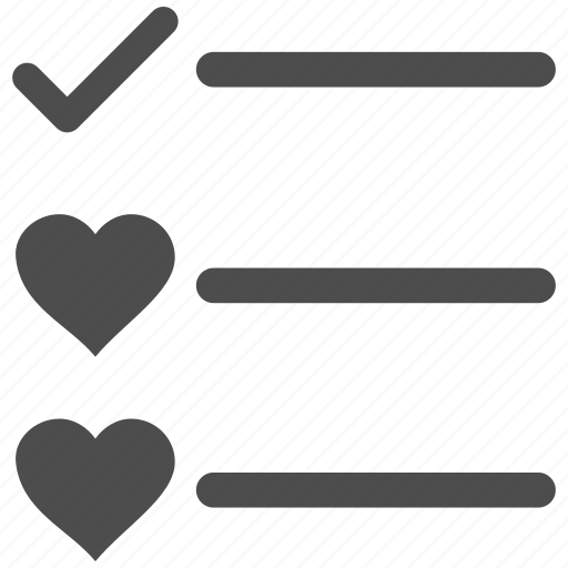 checklist, favourite, favourites, love, menu items, task list, valentine icon