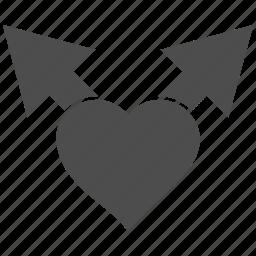 arrows, favorite, heart, junction, love variants, romantic, valentine icon