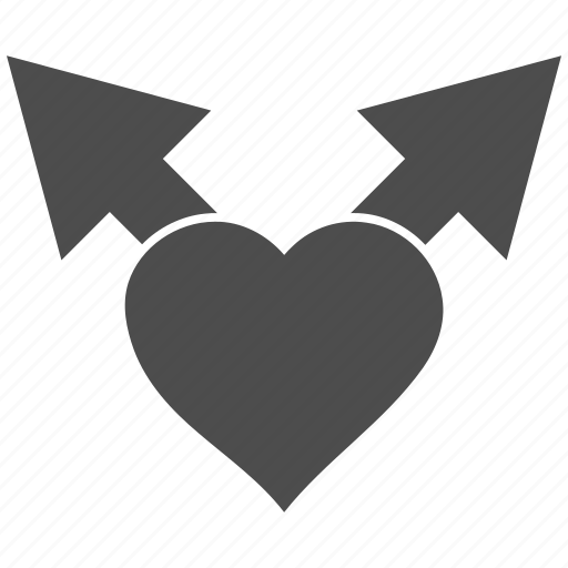 arrows, favorite, heart, junction, love variants, romantic, valentine icon