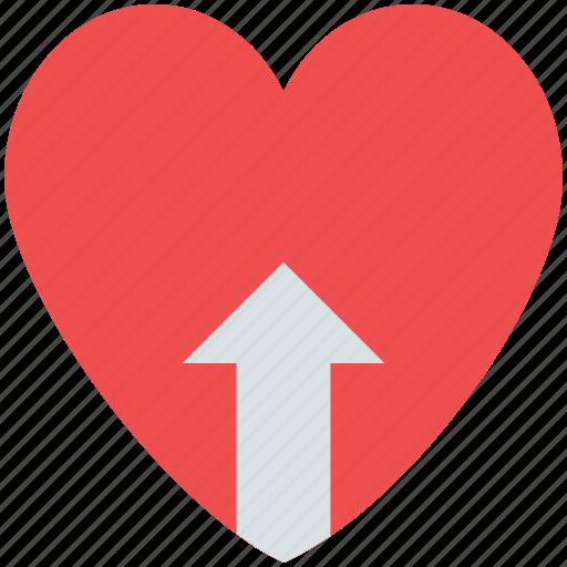 heart with arrow, love, up arrow, uploading heart, valentine icon