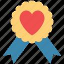 award badge, badge with heart, heart award, love award, love badge icon