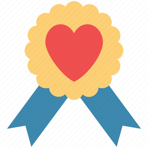 award badge, badge with heart, heart award, love award, love badge icon