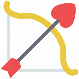 archery, cupid bow, graph, heart arrow, love arrow, love graph icon