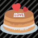 cake, cake with hearts, dessert, romantic cake, valentine cake icon