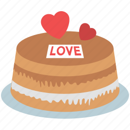 cake, cake with hearts, dessert, romantic cake, valentine cake icon