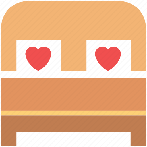 bed, bedroom, couple bedroom, heart pillows, hotel room, wedding decoration icon