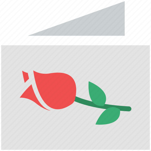 card, card love, card with rose, rosebud on card, wishing card icon