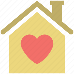 home with heart sign, house, house with heart sign, love home, lover's home icon