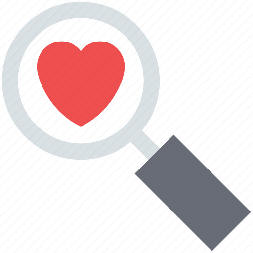 finding love, heart, heart search, love search, magnifier, searching love icon