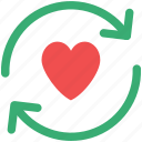 heart rotating, heart synchronization, heart with arrows, love concept, sync sign icon