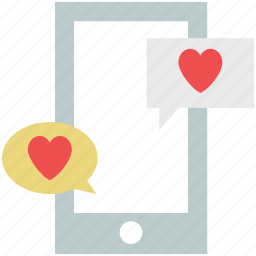 chat bubbles, love chat, love communication, lovers chat, mobile chat, online love icon