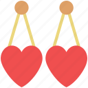 eardrops, earrings, fashion, heart earrings, jewelry, ornaments icon