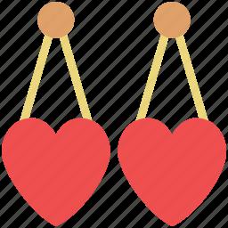 eardrops, earrings, fashion, heart earrings, jewelry, ornaments icon