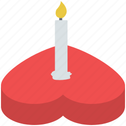 candle on heart, celebrating love, heart cake, love, romantic, valentine's day icon