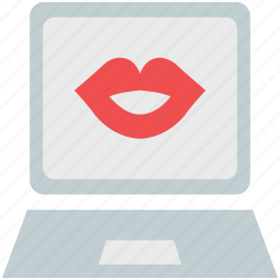 kissing lips, laptop, lips, online kiss, online romance, smiling lips icon