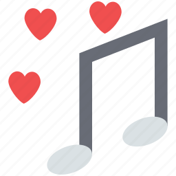 love music, love songs, music sign, musical note, romantic music, romantic songs icon
