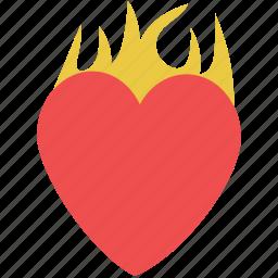 burning heart, fire heart, heart in fire, heart of fire, heart on fire, heart with fire icon