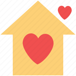 home with hearts, house, house with hearts, love home, lovers home icon