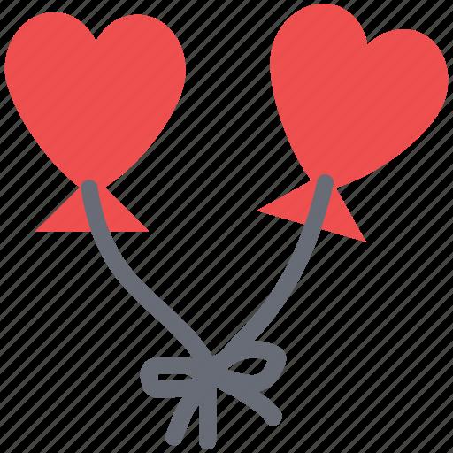 couple kites, flying, heart balloons, heart kites, love concept, tie heart kites icon