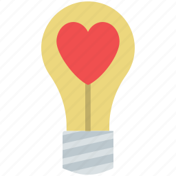 heart inside light, heart light, light bulb heart, love light icon