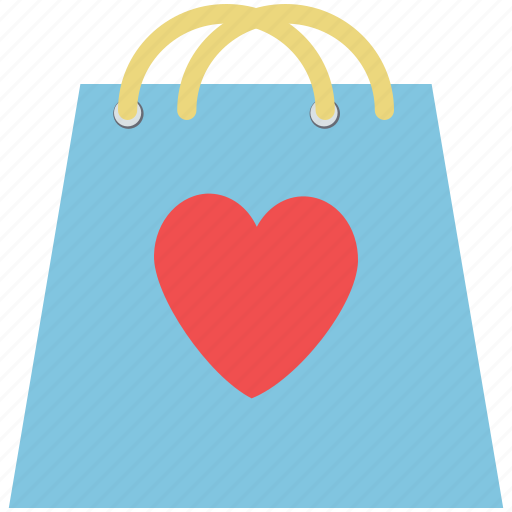 bag, hand bag, heart on bag, love shopping, valentine shopping icon