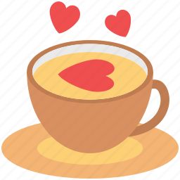 coffee cup, cup with saucer, love symbol, love tea, tea, tea cup icon