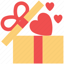 gift box, heart shaped, love gift, love present, present for lover icon
