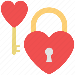 heart lock, heart padlock, lock your love, love key, love lock icon