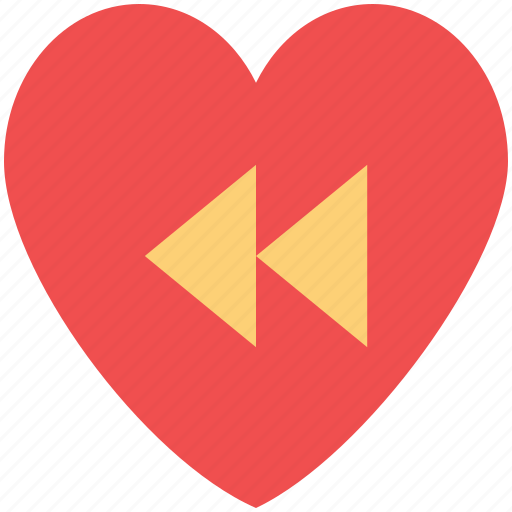heart, love music, media button, reverse sign, rewind button, romantic music icon