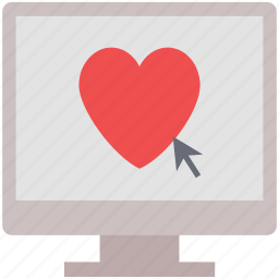 click heart, lcd, love message, love sign, love symbol, screen heart icon