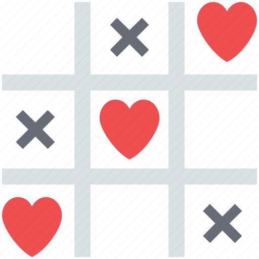 game, love concept, love sign, love symbol, play, tic tac toe, tic tac toe game icon