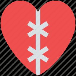 decorative heart, heart, ribbon patch heart, valentine heart, valentine's day decorations icon