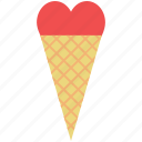 cone, dessert, heart cone, ice cream, love, romantic, sweet icon