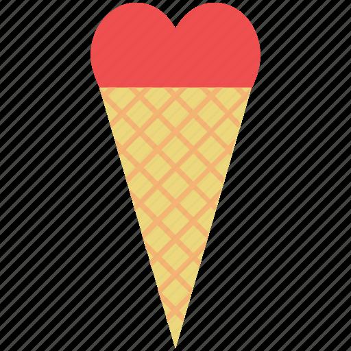 cone, dessert, heart cone, ice cream, love, romantic, sweet icon