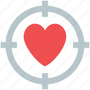 crosshair on heart, dating, heart target, love concept, love heart icon