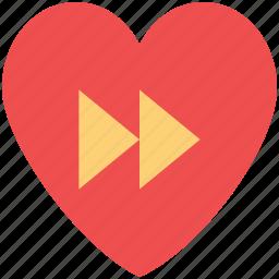forward button, forward sign, heart, love music, media button, romantic music icon