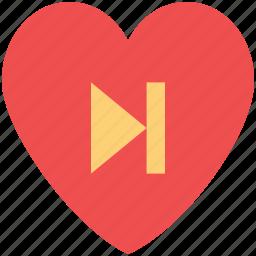 forward, forward sign, heart, media button, media sign, media symbol icon